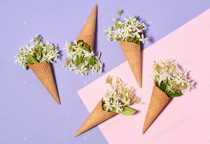 Ice cream cones with jasmine flowers