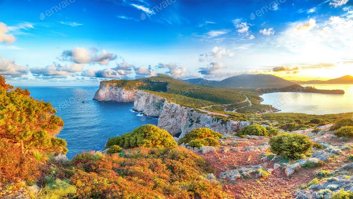 Astonishing morning view on Cacccia cape.