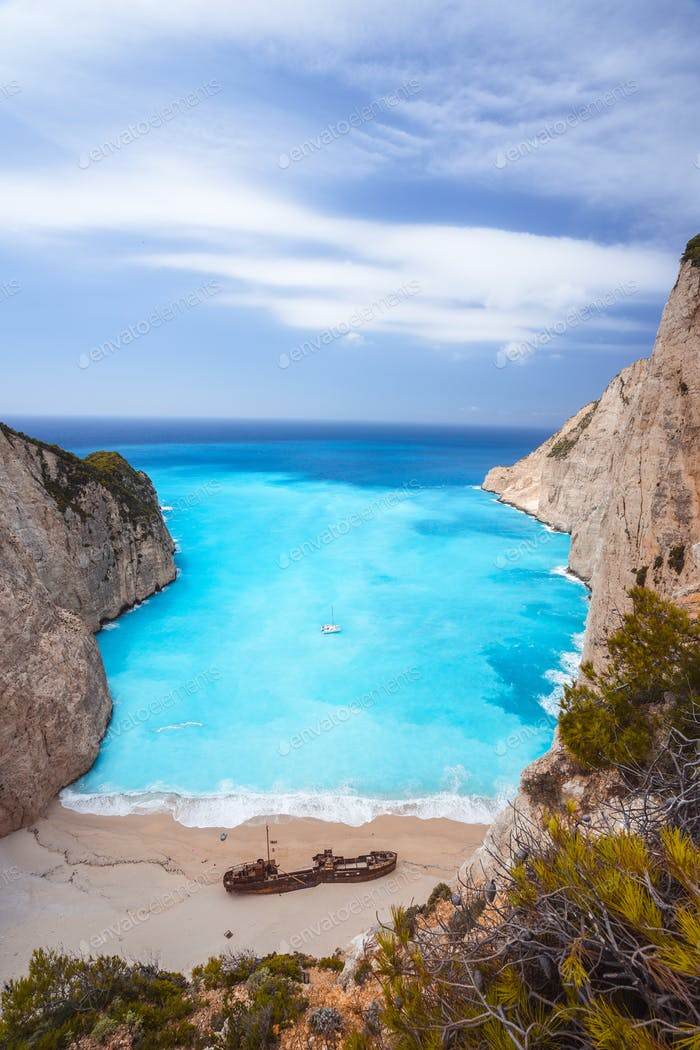 Epic view to Navagio beach with shipwreck on Zakynthos island in Greece