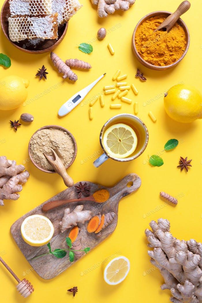 Medizinisches Pflegekonzept. Erkältung, Grippe Behandlung. Ingwer, Zitrone, Honig, Pillen, Drogen, Nahrungsergänzungsmittel