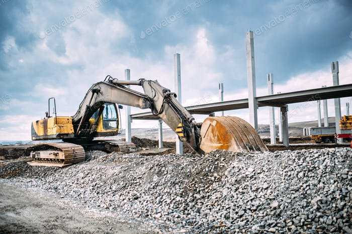 Industrial machinery on highway construction site