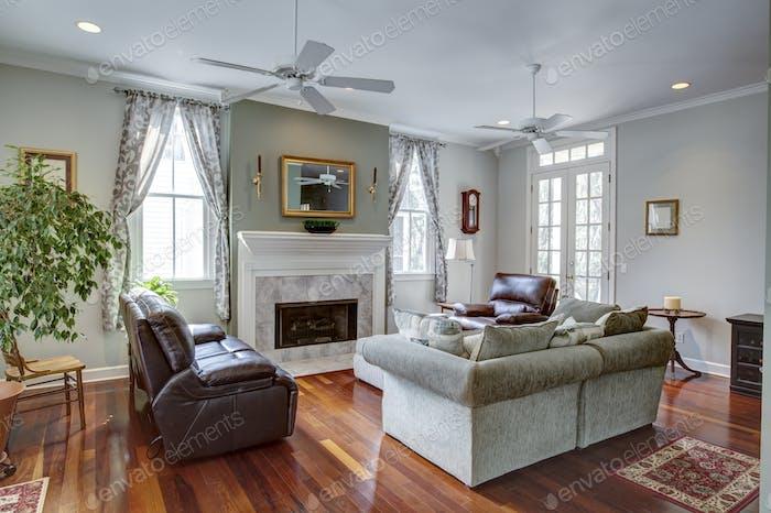 Luxury modern livingroom with fireplace