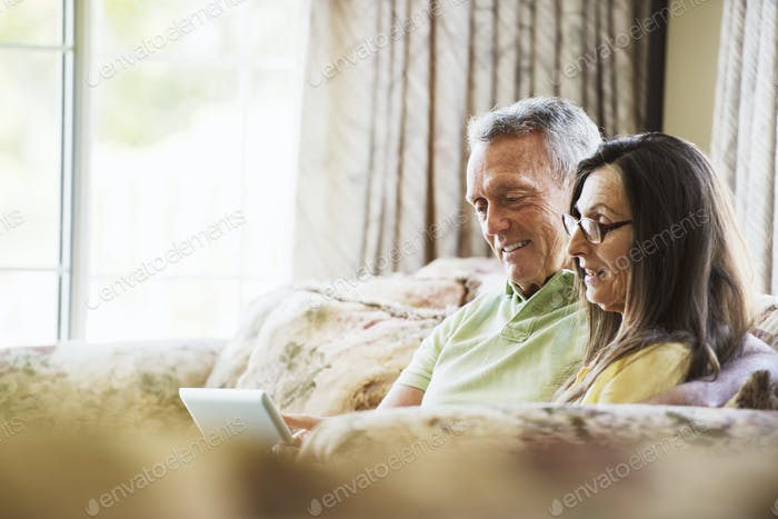 Smiling senior couple sitting on a sofa, using a laptop computer.