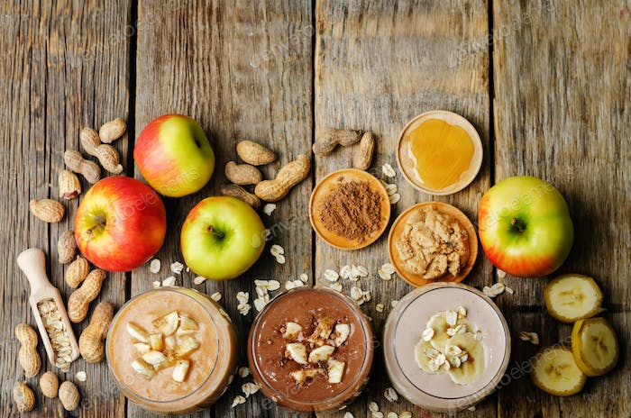 list peanut butter smoothie with chocolate, apples, banana and o