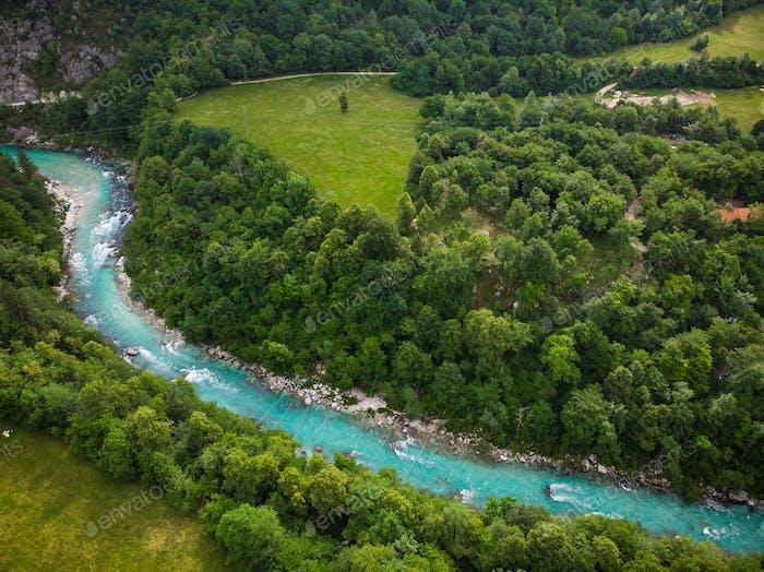 Turquoise Soca river near Kobarit, Slovenia
