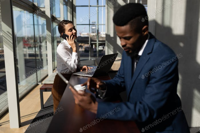 Young Caucasian businesswoman talking on mobile phone while using laptop standing in modern office.