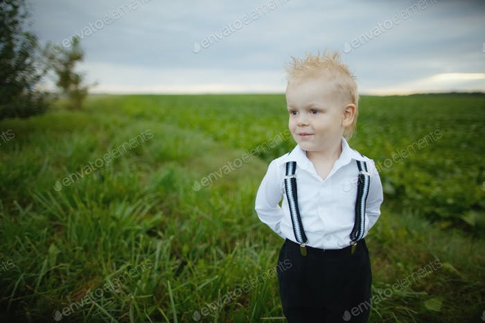 little boy in green field