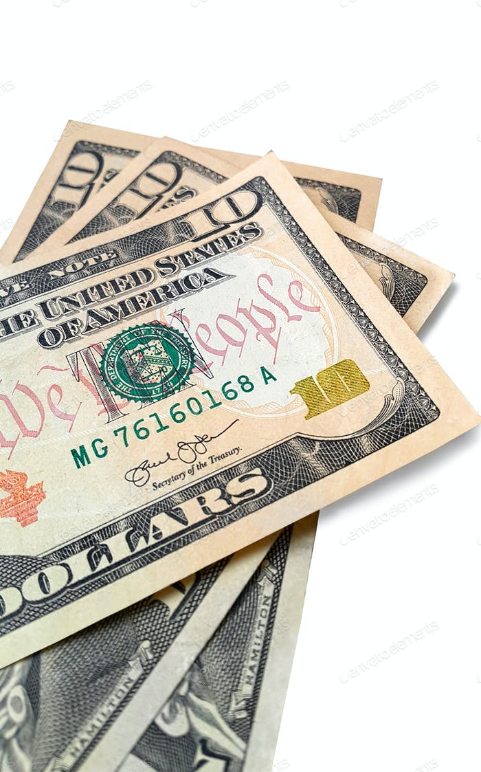 Banknoten von amerikanischen Dollar isoliert auf weiß