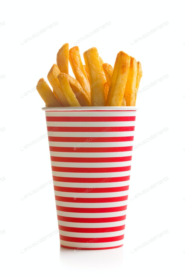 french fries in cup