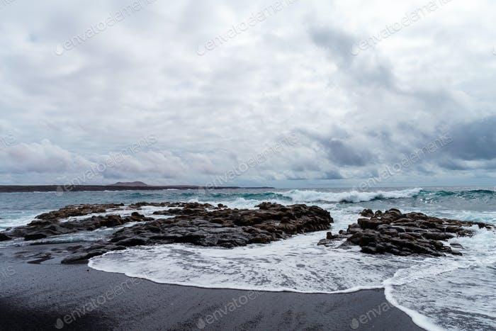 A view of a beach of Lanzarote, Canary Islands, Spain.