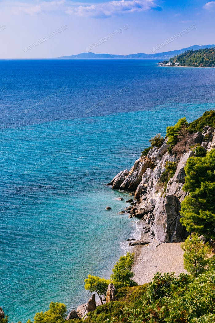 beautiful landscape of turquoise sea and rocky coast in Greece