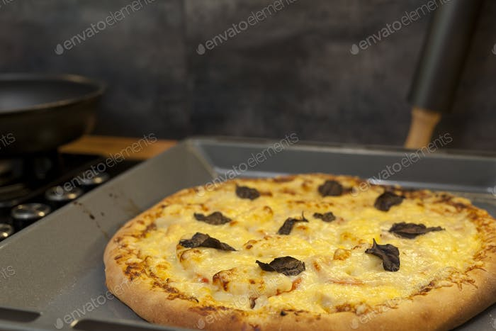 Baked quattro formaggi pizza in rectangular oven griddle