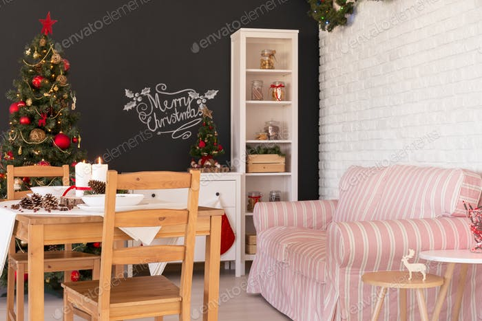 Living room in christmas decor