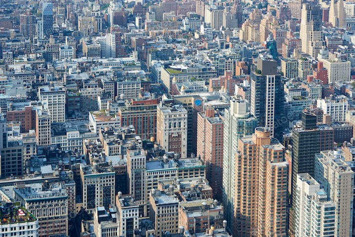 New York City Manhattan aerial view, skyscrapers background