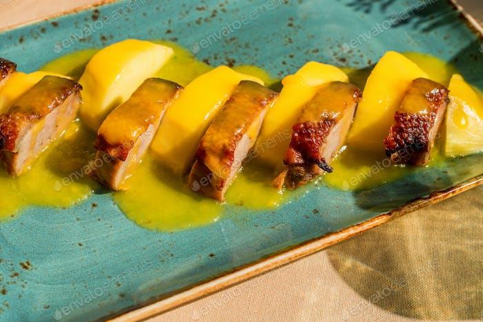 Roast duck with mango