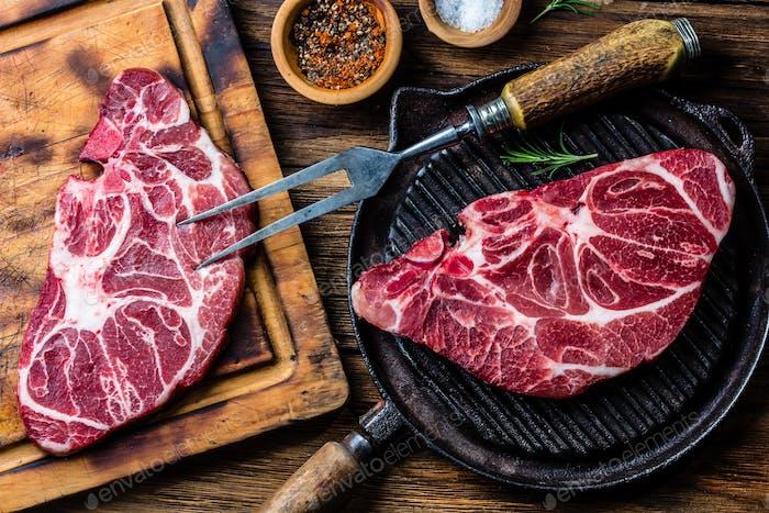 Roh marmoriertes Rindfleischsteak