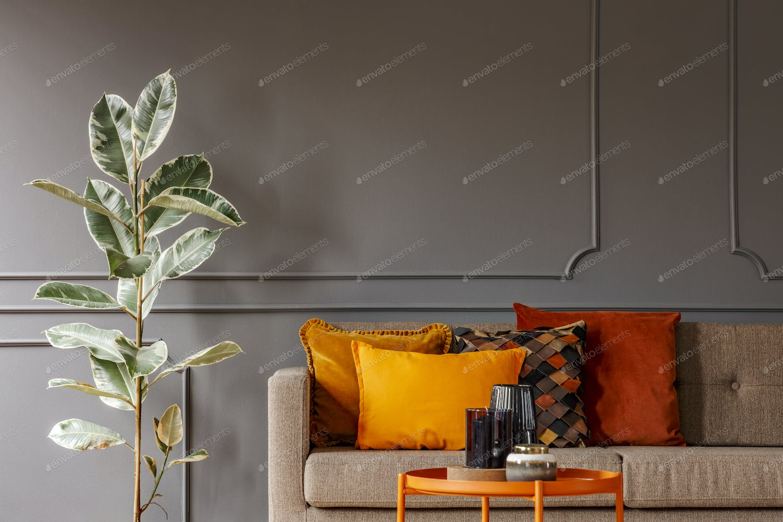 Ficus next to brown sofa with orange pillows in grey living room photo by  bialasiewicz on Envato Elements