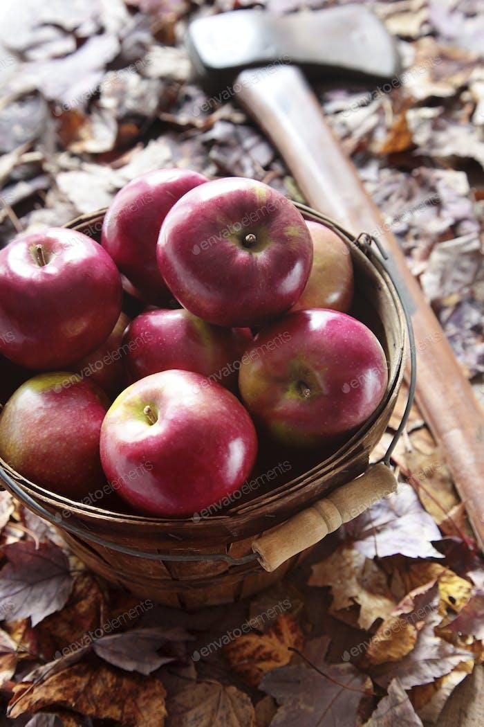 Äpfel im Korb mit Axt