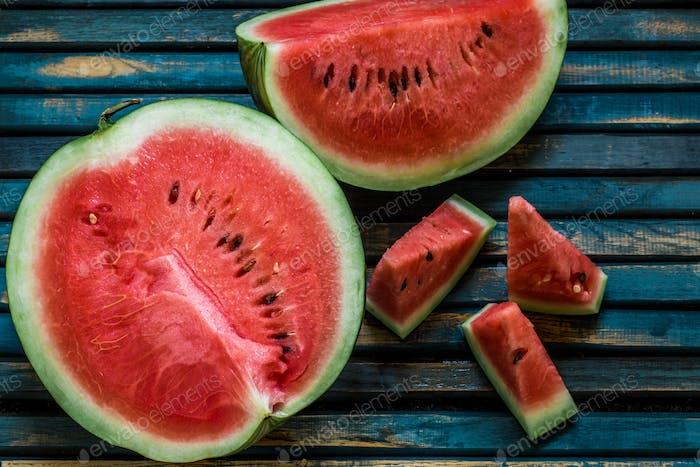 Köstliche frische Wassermelone. Eiscreme mit Wassermelonen