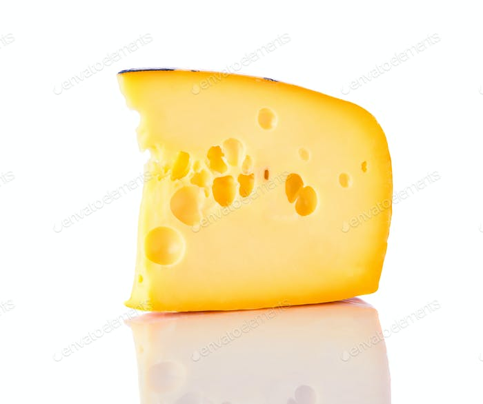 Emmental Swiss Cheese on White
