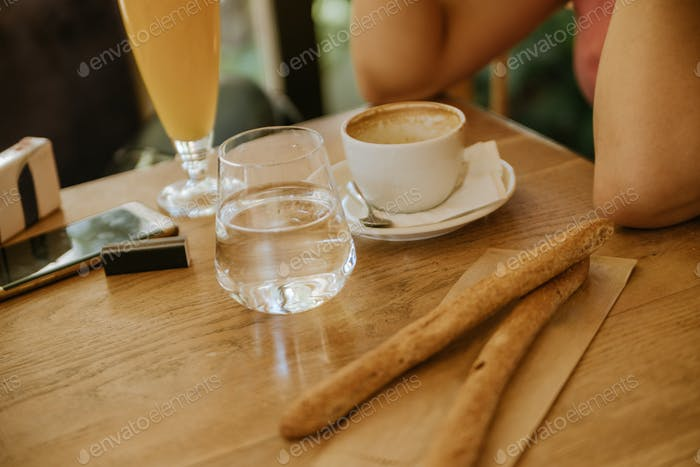 Breakfast And Juice On A Wooden Table