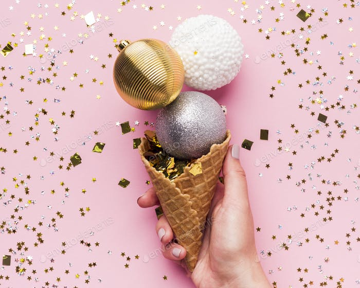 Close up of creative ice cream in waffle cone