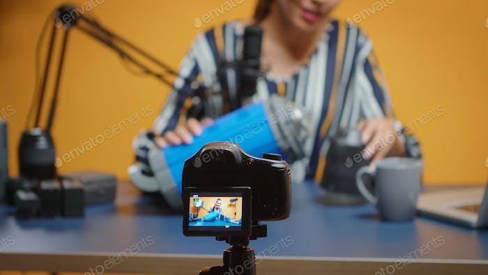 Influencer-Aufnahme Video icht Überprüfung