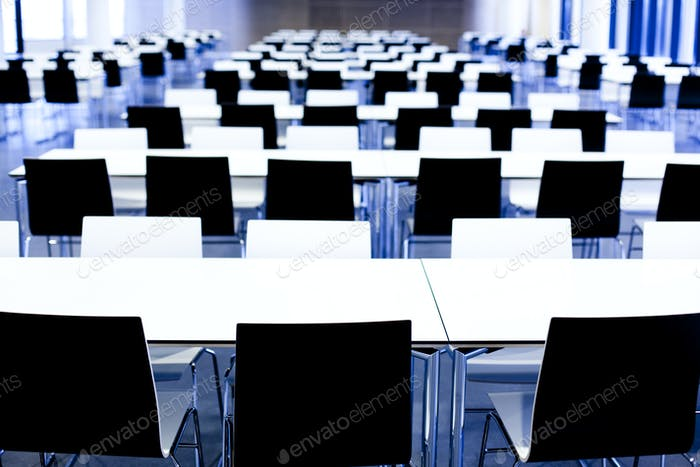 Interior of huge empty canteen