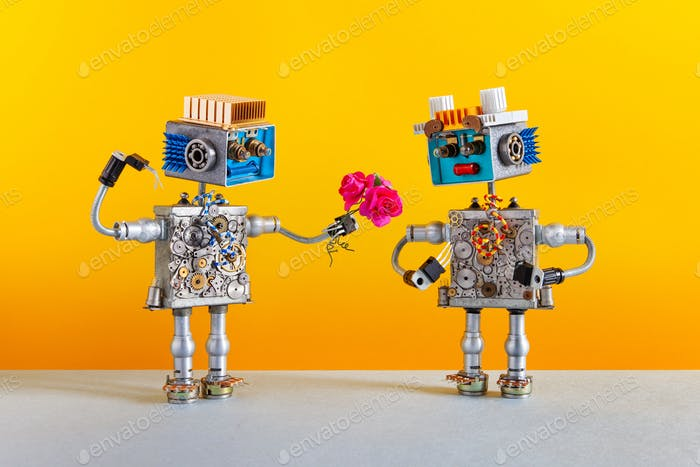 Dates robots. Romantic robot man gives a bouquet of pink roses flowers to a female robot