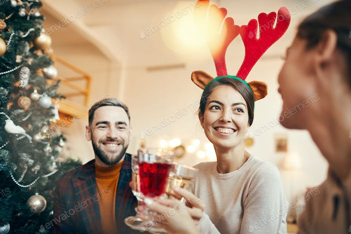 Group of People Enjoying Christmas Party