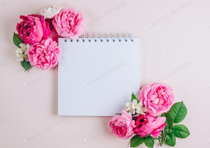 roses on beige background