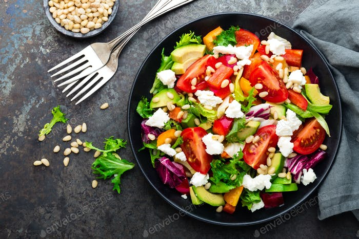 Vegetable dish, salad with feta cheese
