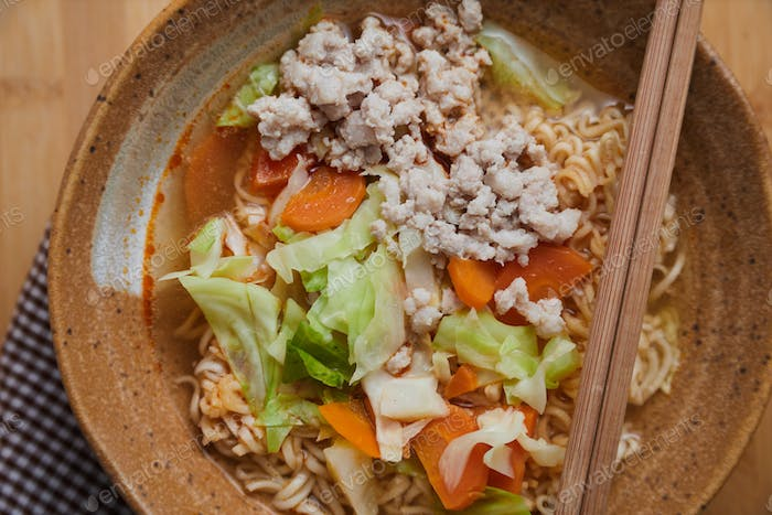 Instant noodle in spicy soup