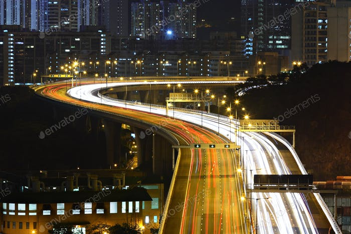 freeway in city at night