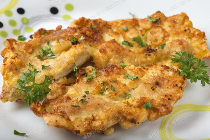 Homemade chicken breast schnitzel