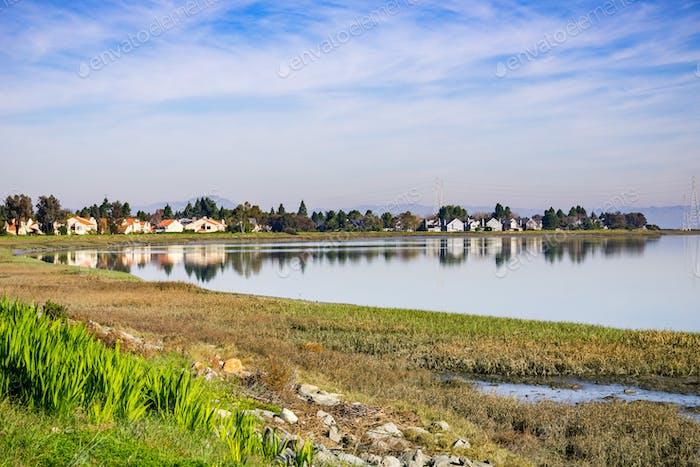 Houses on the shoreline of San Francisco bay, Redwood Shores, California