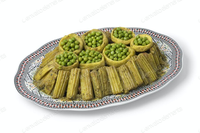 Moroccan meal with Cardoon, stuffed artichoke hearts with green peas