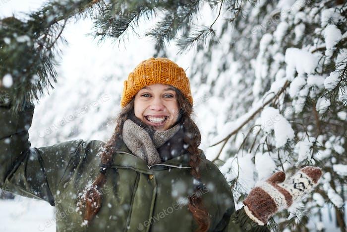 Happy Girl in Woods