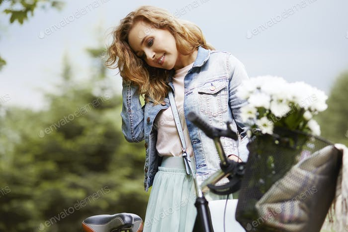 Woman spending sunny day outside