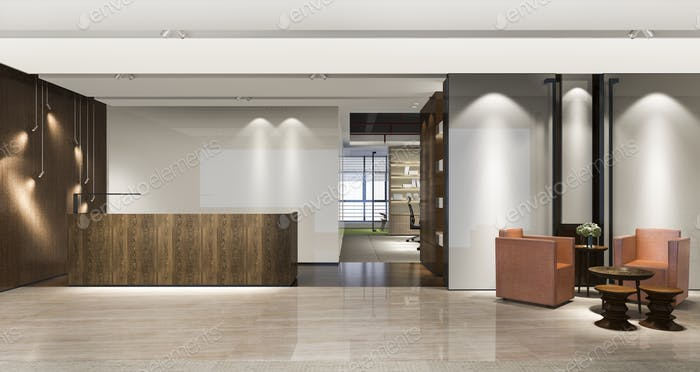 3d rendering modern luxury hotel and office reception and lounge with meeting chair and sofa