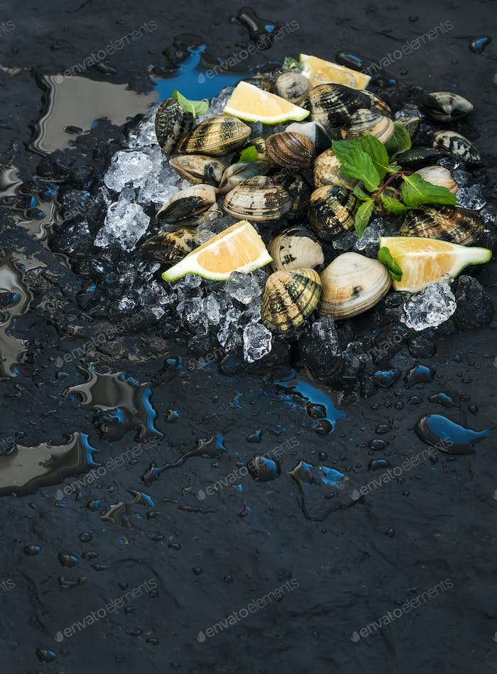 Fresh uncooked clams with lemon, herbs and spices on chipped ice
