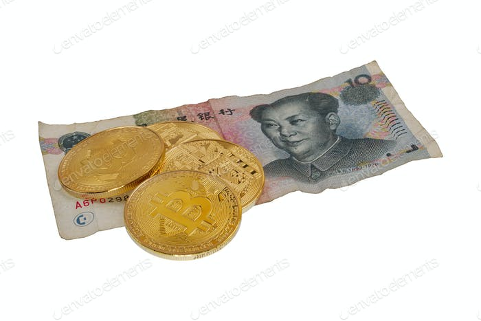 Yuan china banknote and bitcoins on a white background