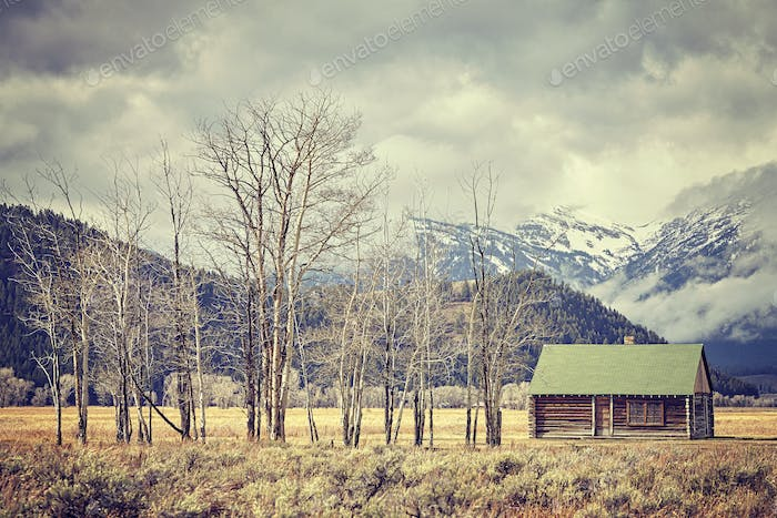 Retro toned old abandoned hut in the Grand Teton National Park,