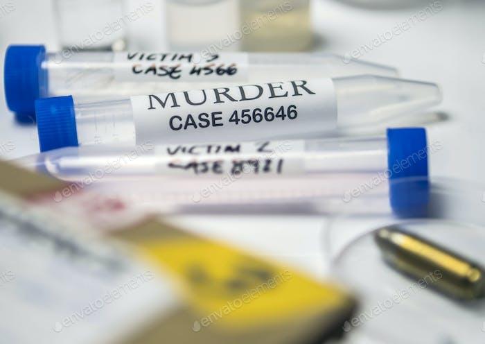 einige forensische Beweise des Mordes im Labor forensische Ausrüstung, konzeptionelle Bild