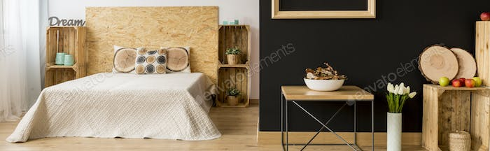 Bright bedroom with wooden furniture