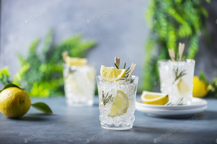 lemon soda cocktail with rosemary