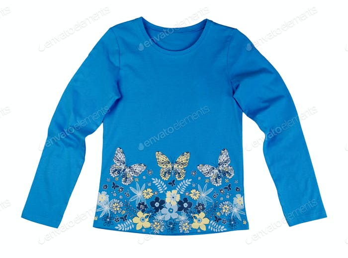 Blue baby jacket with a butterfly pattern