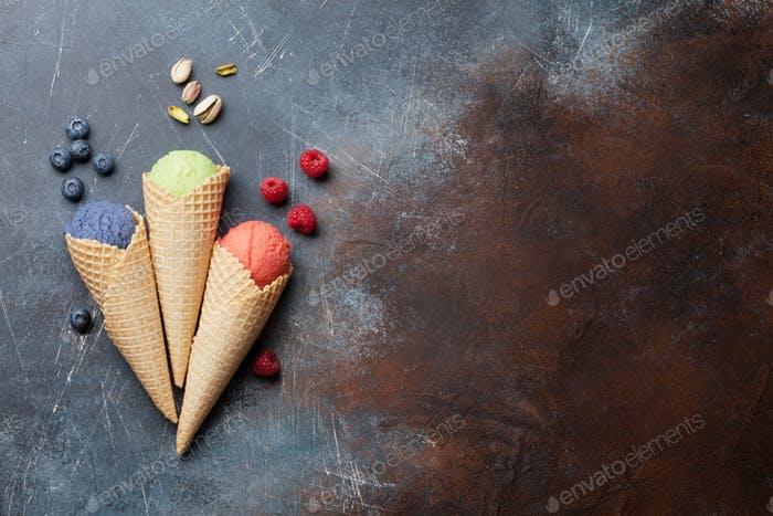 Ice cream with nuts and berries