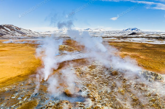 Namafjall Hverir geothermal area in Iceland. Aerial view