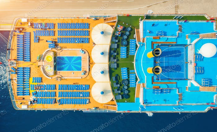 Aerial view of luxury cruise liner. Top view
